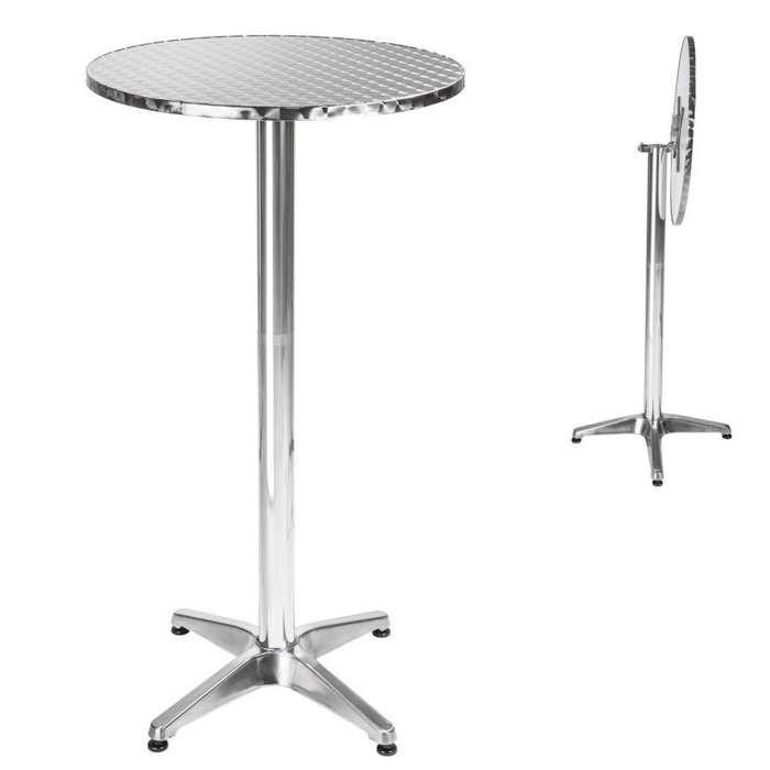 TECTAKE Table Mange Debout en Aluminium pliable Ø 60 cm - Hauteur réglable 74 cm ou 114 cm