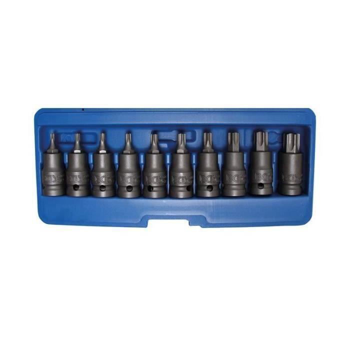 Jeu de douilles à embouts à choc 12,5 mm (1/2-) Profil T (pour Torx Plus) T20 - T70 10 pièces