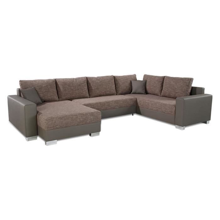 canap panoramique en u convertible 39 you 39 taupe achat vente canap sofa divan pu. Black Bedroom Furniture Sets. Home Design Ideas
