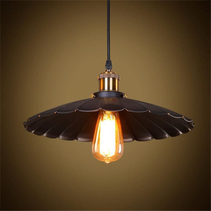 Suspension luminaire design plume m tal 35cm retro industriel 110 220v ampoul - Suspension luminaire style industriel ...