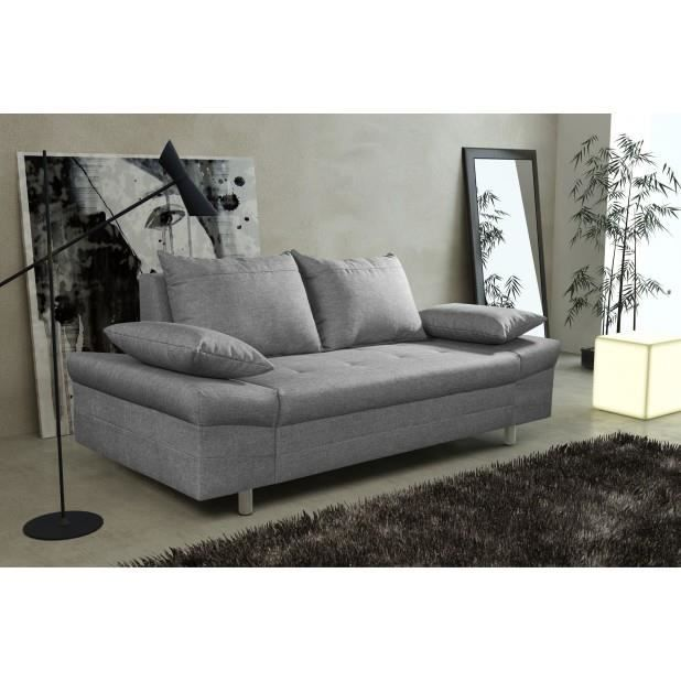 Canap bacau 3 places gris canap sofa divan achat for Divan 3 places elran
