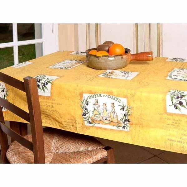 nappe patch olive jaune coton plastifi e 2m50 achat vente nappe de table cadeaux de. Black Bedroom Furniture Sets. Home Design Ideas