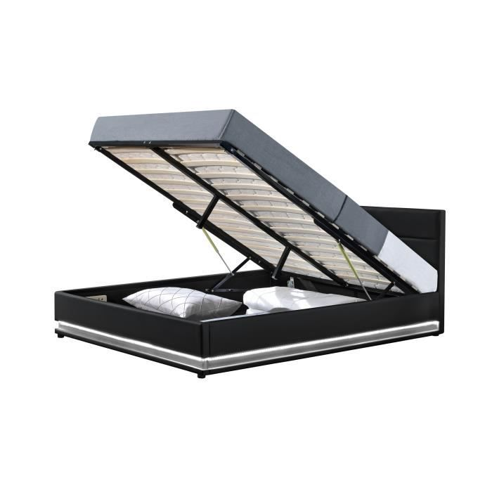 jupiter lit coffre pu noir a led 140x190 cm achat. Black Bedroom Furniture Sets. Home Design Ideas