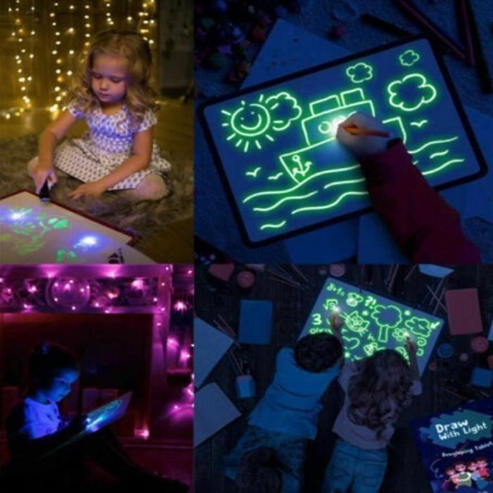 TABLETTE ENFANT TABLEAU MAGIC LUMINEUX A3 GRANDE TAILLE+1STYLO LED