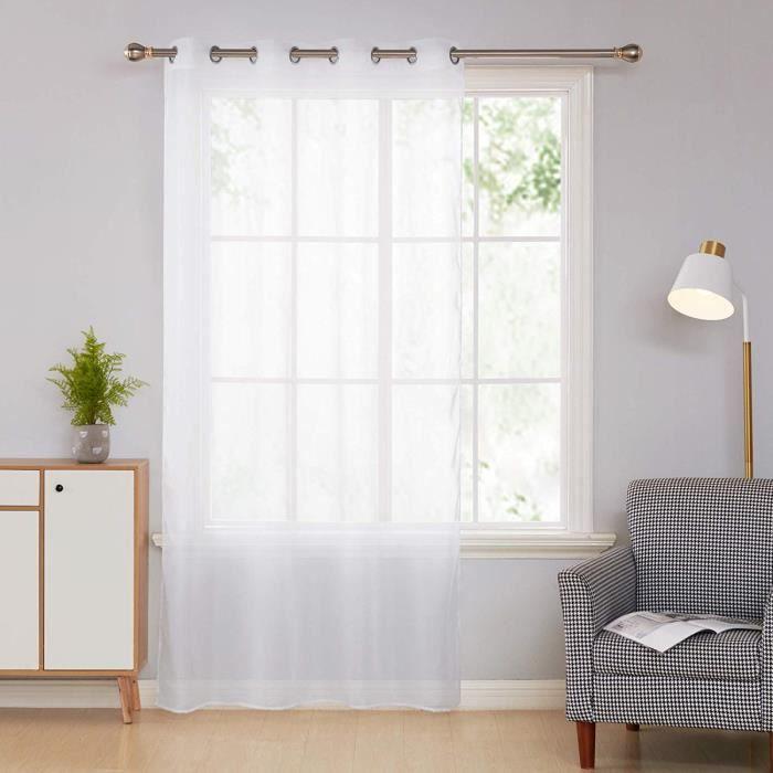 rideaux voilage uni blanc 140x240 a oeillets  achat