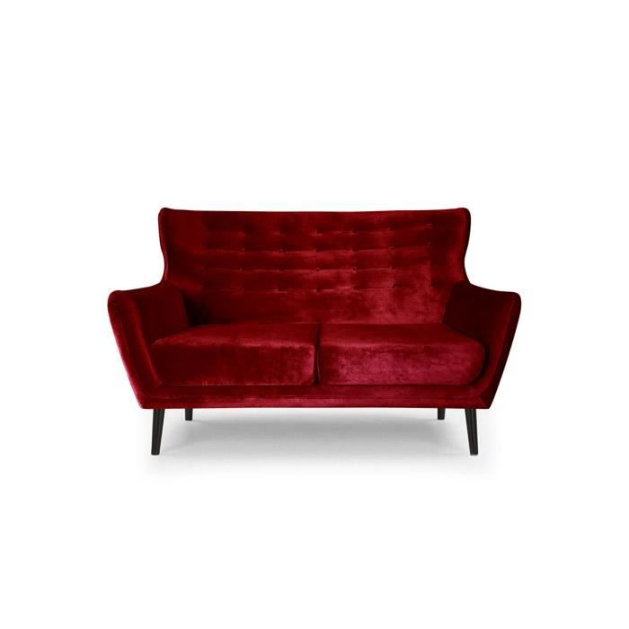 Canap 2 places rouge velours aguila moncornerdeco - Canape rouge velours ...