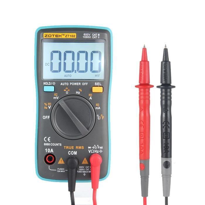 Testeur de résistance de courant de tension multimètre numérique LCD