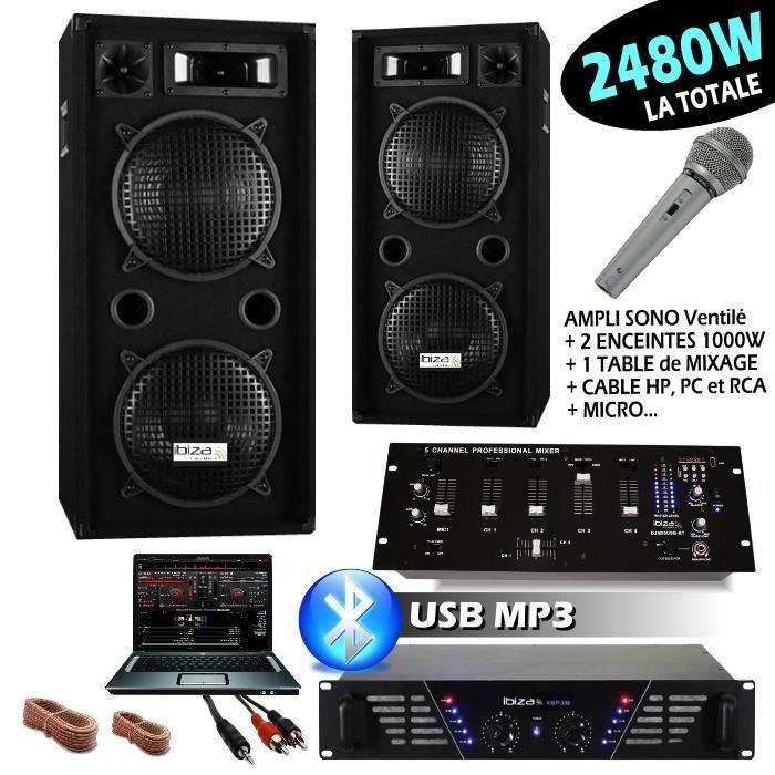 Sono Ibiza Dj 2480w Avec 2 Enceintes 1000w Ampli 480w Micro