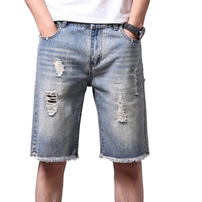 Short jean homme déchiré Shorts Hommes jean