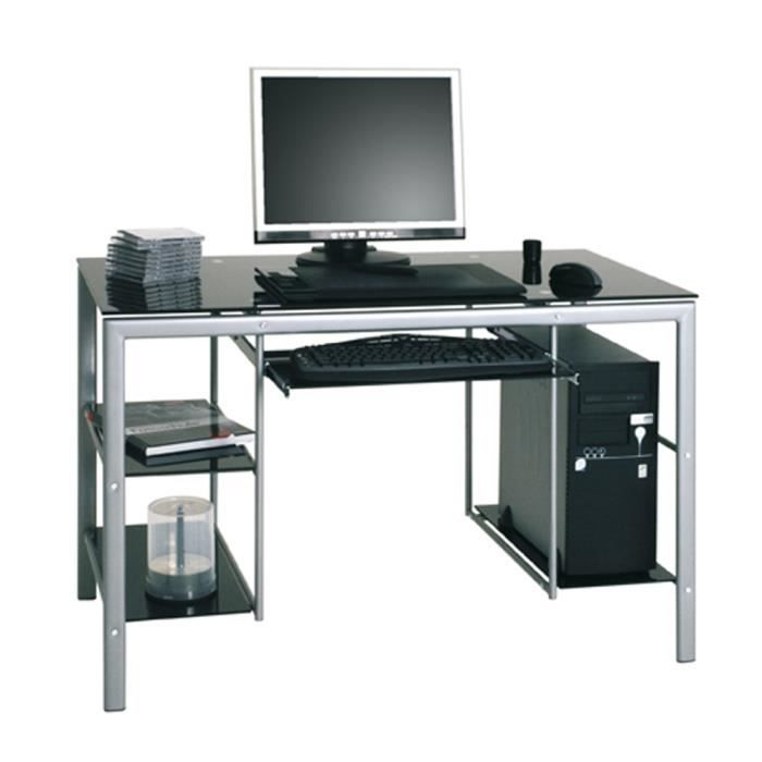 bureau informatique acier et verre tremp l115 x h74 x p60 cm achat vente buffet bahut. Black Bedroom Furniture Sets. Home Design Ideas