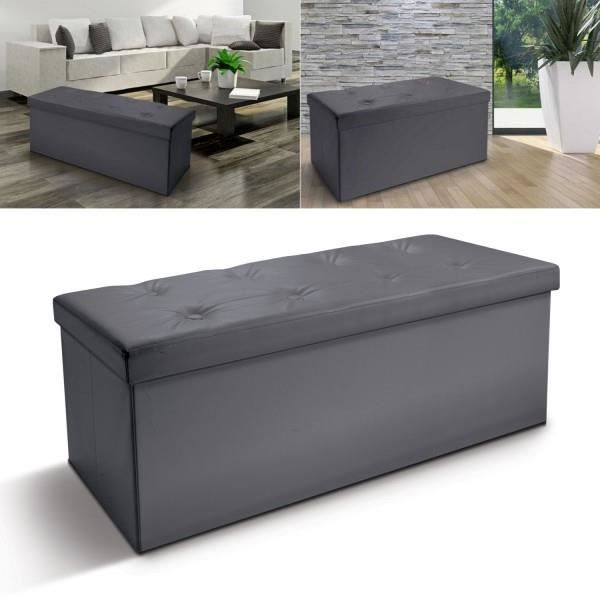 banc coffre rangement pliable gris gm 100x38x38 cm achat. Black Bedroom Furniture Sets. Home Design Ideas