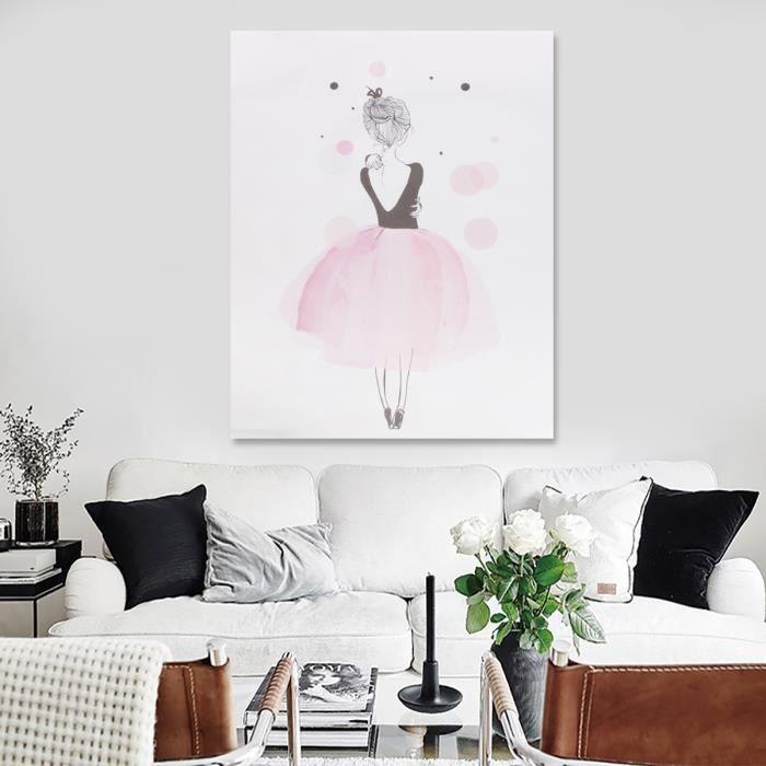 Tempsa Kawaii Fille Cute Style Peinture Toile Affiche Murale Enfant Chambre Décor Dessin Rose Clair 40x50cm