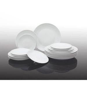 MÉNAGÈRE Service de table en porcelaine - blanc - 18 pièces