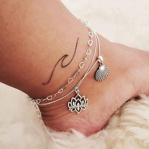 CHAINE DE CHEVILLE CHAINE DE CHEVILLE 2PC Bohême Shell Bracelets Brac