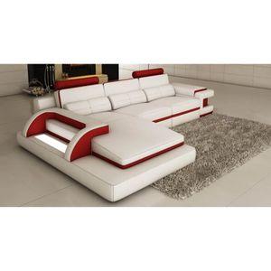 CANAPÉ - SOFA - DIVAN canapé d'angle design en cuir blanc et rouge avec