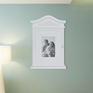 ARMOIRE - BOITE A CLÉ Armoire à clés avec cadre photo en verre Blanc