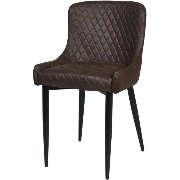 Lot de 2 - Chaise BOONE Marron - assise Cuir PU pieds Metal