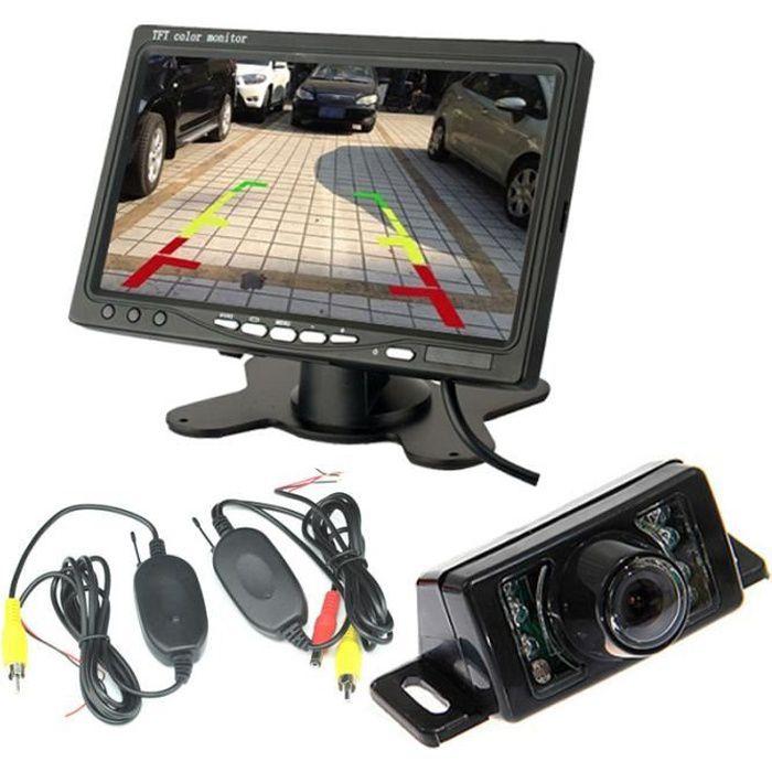 Nouvelle Caméra de Recul Sans Fil 7 Pouces HD LCD Ecran+Caméra de Voiture Etanche 7 LEDs IR de Vision Nocturne