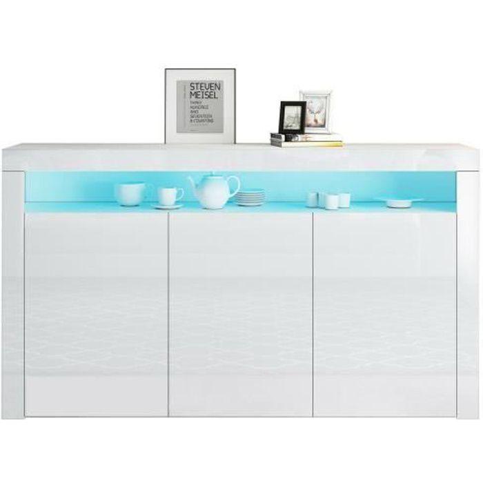 Buffet bas LED contemporain blanc laqué brillant - 3 Portes - L 130 cm - EU plug