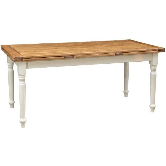 Table à rallonge champêtre en bois massif de tilleul avec structure antique blanche et plateau en finition naturelle L180xPR90xH