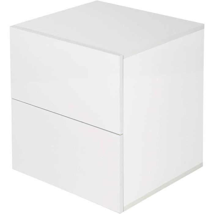Chevet -Yorick- laqué 2 tiroirs - Blanc