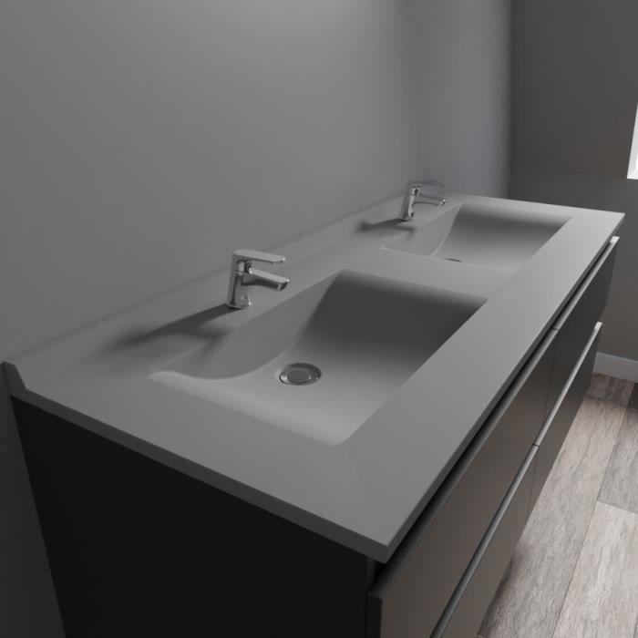 Plan double vasque en résine de synthèse gris RESIPLAN - 140 cm