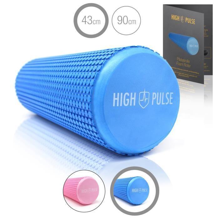 High Pulse Rouleau pilates - Rouleau en mousse pour renforcement musculaire, fitness et massage des fascias, 43 x 15cm (Bleu)