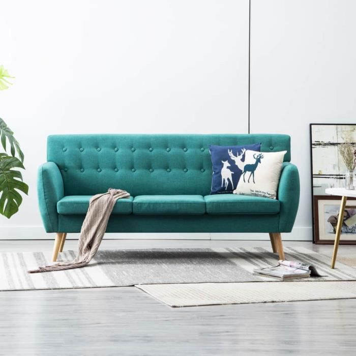 Canapé fixe 3 places - Revêtement en tissu - Vert - Scandinave - 172 x 70 x 82 cm