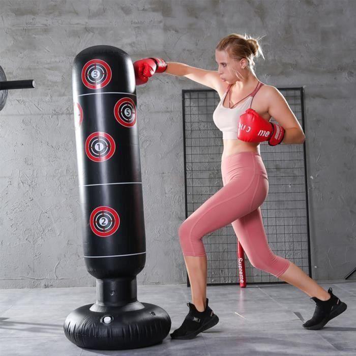 Sac de Boxe Gonflable Sac De Frappe Sur Pied Punching Ball Pour Adulte Enfant Fitness