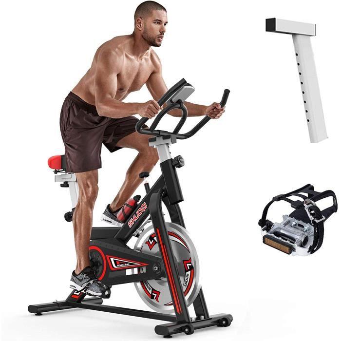 SHUOQI Vélos d'appartement Vélo d'entraînement, pour Spinning,Qualité Professionnelle,Roue bidirectionnel,Transmission par Courroie