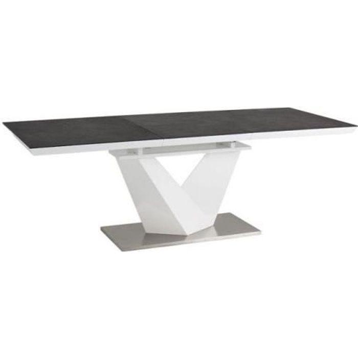 ALATAS - Table extensible salle à manger - 140x85x75 cm - Plateau en MDF laqué + verre - Cadre en acier + MDF - Noir/Blanc