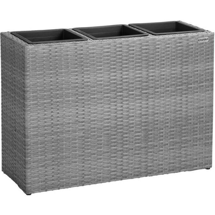 Bac à fleurs polyrotin gris 3 compartiments 83x30,5x60 cm Pot de fleurs intérieur extérieur