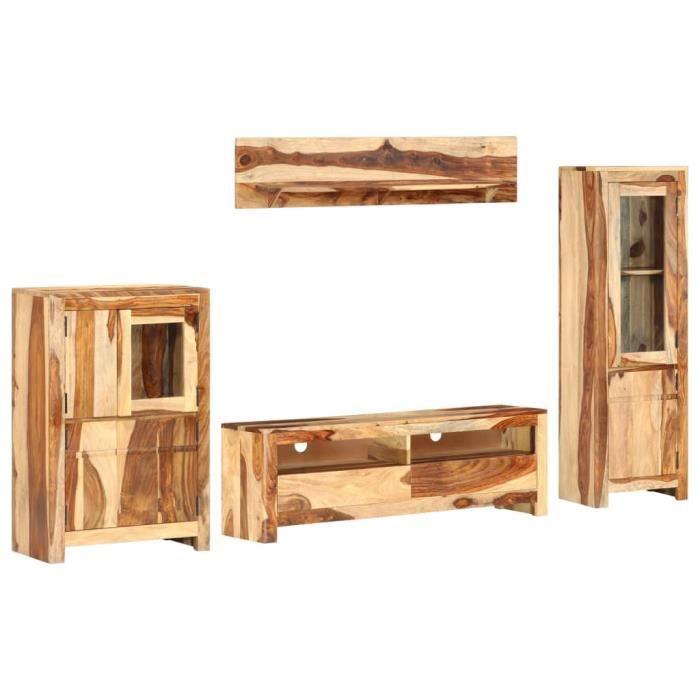 MOH- Ensemble de meuble TV 4 pcs Bois solide