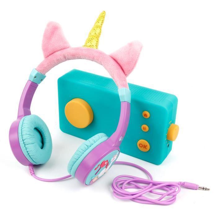 DURAGADGET Casque Audio Enfant Licorne Compatible avec Lunii, ma Fabrique à Histoires - Réglable