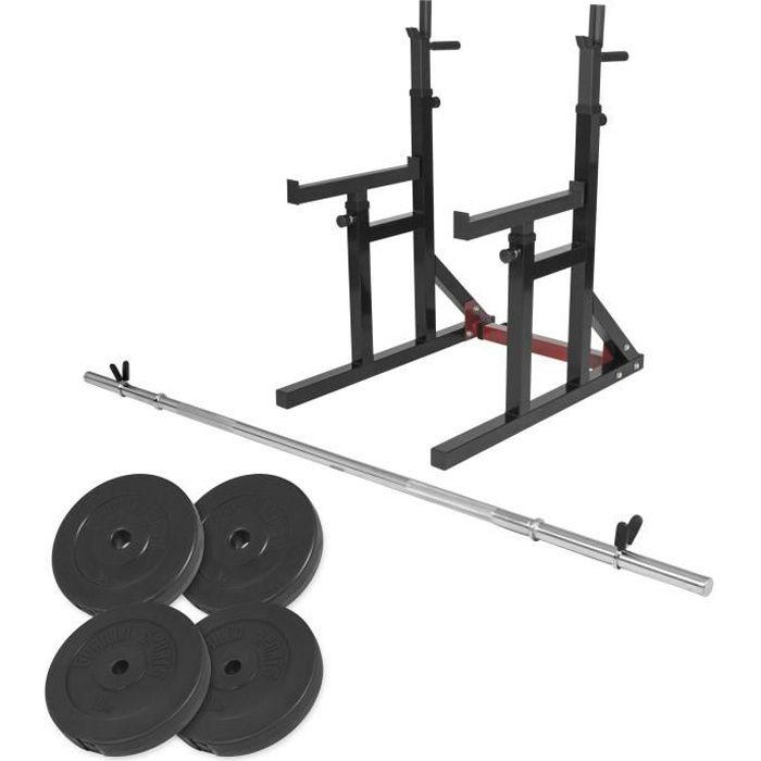 Gorilla Sports - Squat rack avec barre longue de 170cm (30mm) avec stop disques et 30kg des poids (2x5kg et 2x10kg) en plastique et