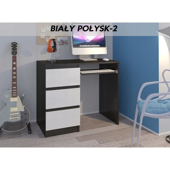 YORK 2WL- Bureau moderne informatique d'ordinateur 96x50x76 - Support clavier-3 tiroirs - Mobilier travail -Wengé-blanc