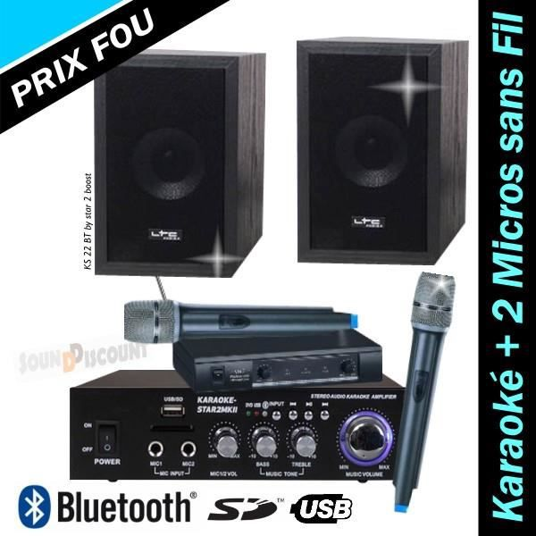 PACK KARAOKE KS22 / STAR2 AVEC AMPLI + ENCEINTES + 2 MICROS SANS FIL + USB BLUETOOTH MP3 PA-DJ