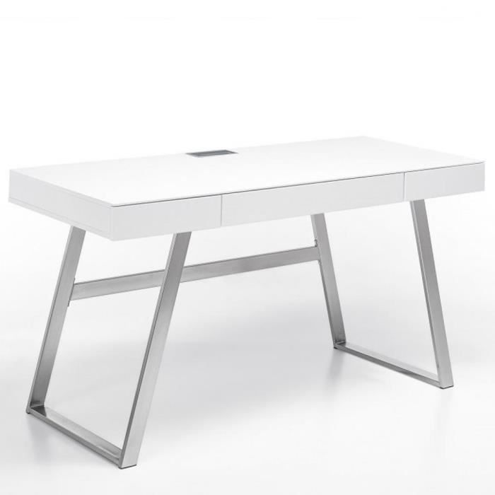 Bureau AKEN laqué blanc mat 3 tiroirs piétement métal brossé blanc MDF Inside75