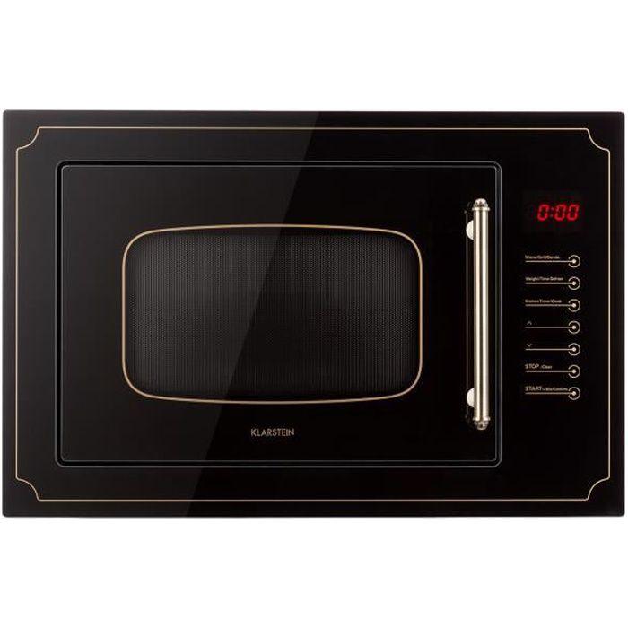 Klarstein Victoria 25 - Four micro-ondes grill combiné - Encastrable - 25L - 900W - Grill 1000W - Style rétro - Noir