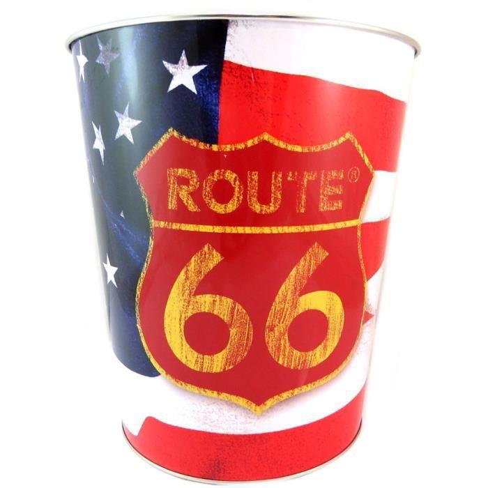 Poubelle métal 'Route 66' (drapeau US) - 26x22.5 cm [P6497]