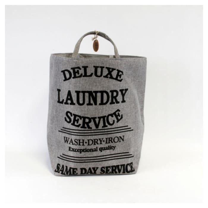 Panier à linge gris trapèze -Deluxe laundry service-.