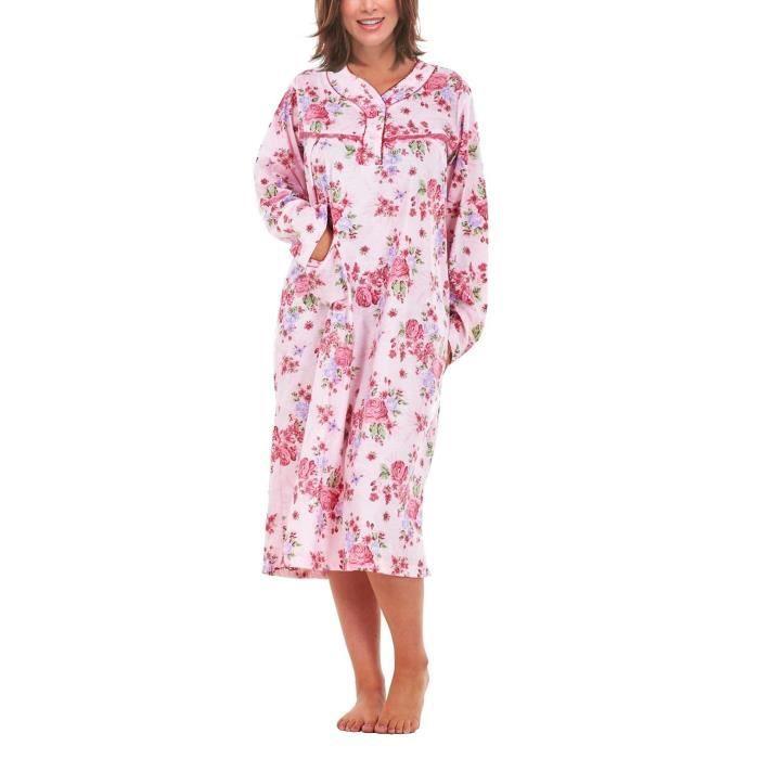i-Smalls Chemise de Nuit pour Femme 100% Coton Manches Longues