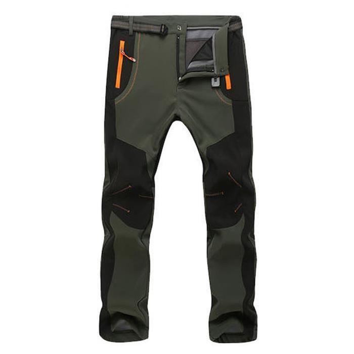 Pantalon de Randonnée Surpantalon Homme Fausse Fourrure Chaud -Taille Asiatique Vert