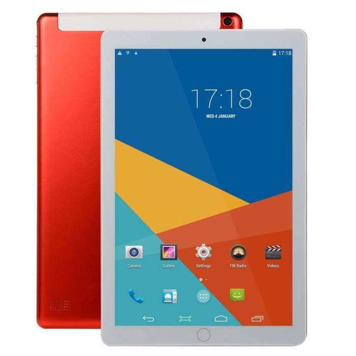 1 Go + 16 Go Tablette PC 10,1 pouces grand écran double SIM 4G téléphone tablette PC micro WIFI Andriod 8.1 métal + plastique rouge