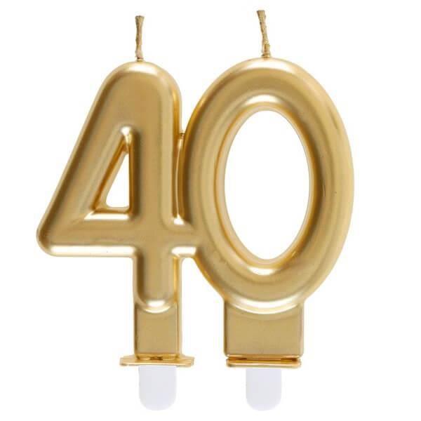 REF/6930 -Décoration gâteau anniversaire avec bougie 40 ans or métallique (x1)