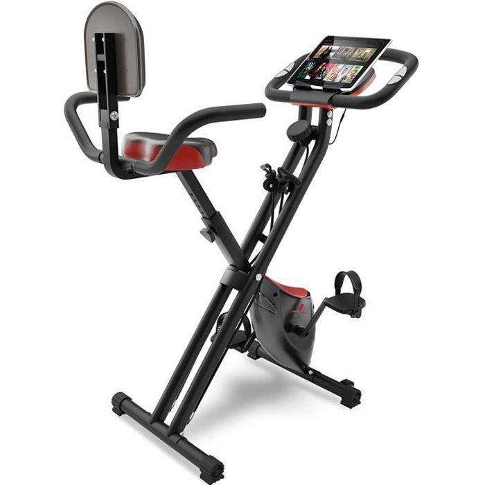Sportstech Vélo d'appartement F-Bike X100 4en1 Home Trainer, F-Bike pour Adulte - poignées avec cardiofréquencemètre
