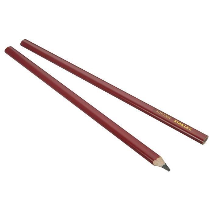 STANLEY 2 crayons de charpentier 30cm corps rouge