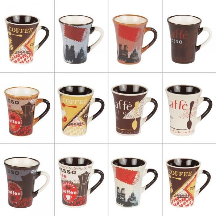 Tasses à café 8 cl bistrot assorties (lot de 12) - Table Passion Multicolore