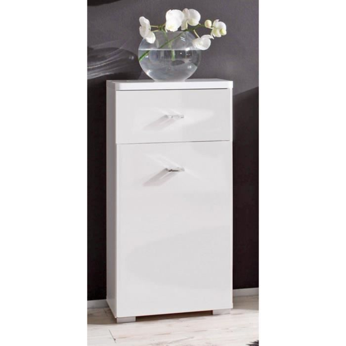 commode barolo meuble de salle de bain 1 porte 1 tiroir couleur blanc laqu e achat vente. Black Bedroom Furniture Sets. Home Design Ideas