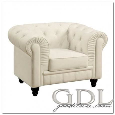Fauteuil chesterfield blanc capiton bois massif simili cuir achat vente f - Fauteuil chesterfield blanc ...